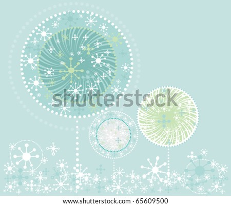 Christmas winter trees  in cartoon style - stock vector