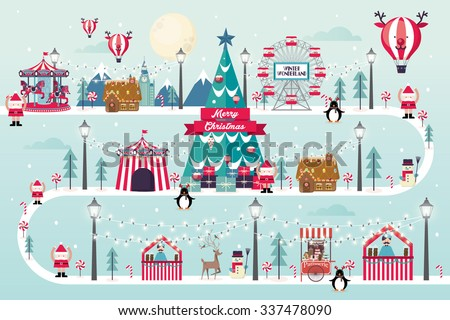 christmas winter wonderland vector/illustration - stock vector