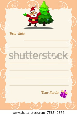 Christmas wishlist letter santa template happy stock vector christmas wishlist letter from santa template with happy santa claus spiritdancerdesigns Images
