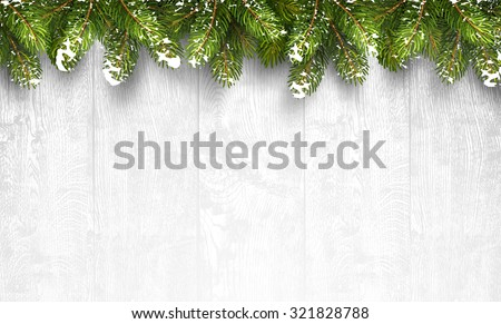 Christmas wooden background with fir branches and snow. Vector illustration - stock vector