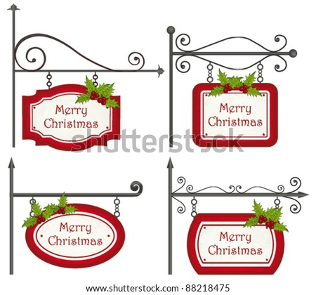 Christmas wooden sign collection. Vector - stock vector