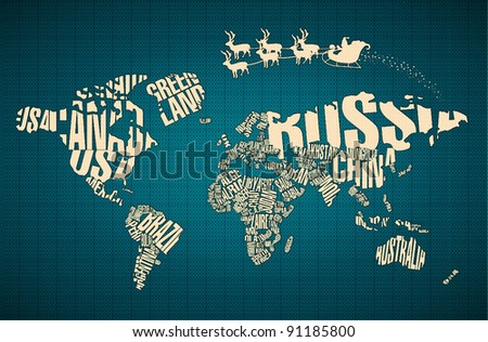 Christmas World Map in Typography with Santa Claus and Deers - stock vector
