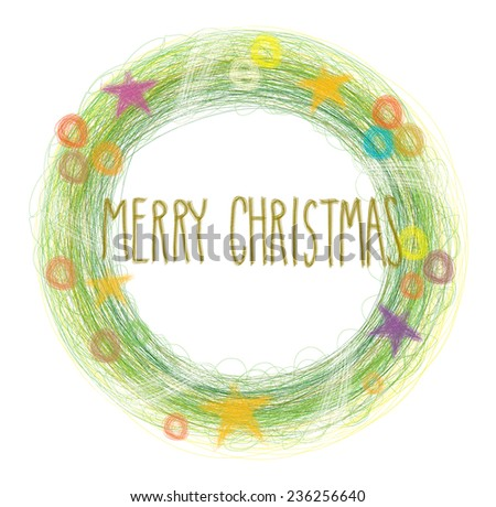 Christmas Wreath abstract drawing vector graphic illustration isolated on white background - stock vector