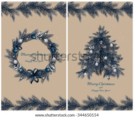 Christmas wreath and tree with decorations: balls, ribbons and stars. Christmas pine twigs and spruce branches. Christmas border. Set of two greeting cards. Vector, EPS 10. - stock vector