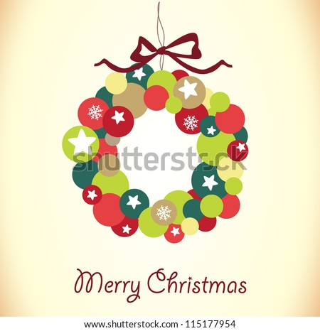 Christmas wreath card template - stock vector
