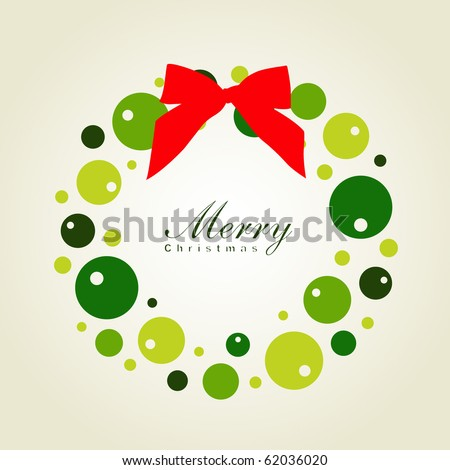 Christmas wreath card template - stock vector