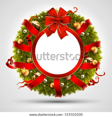 Christmas wreath decorated with branches fir, balls, ribbons and bow