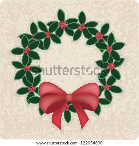 Christmas wreath decoration, vector illustration for design - stock vector