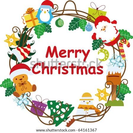 Christmas Wreath Frame - stock vector