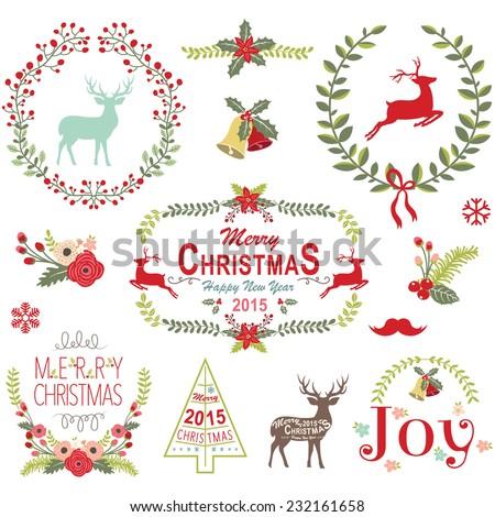 Christmas Wreath Frame Collection - stock vector