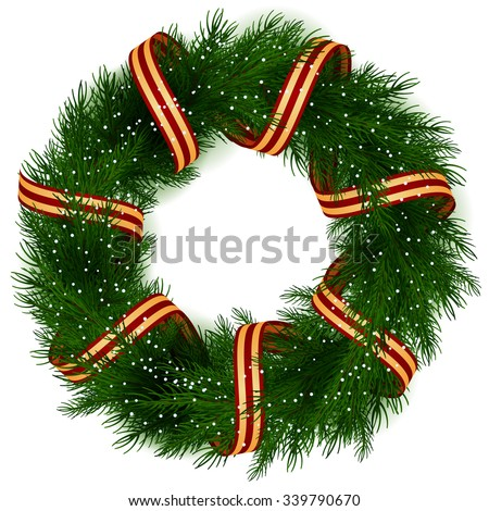 Christmas Wreath isolated - stock vector
