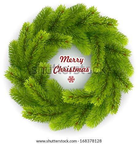 Christmas wreath isolated on white background. Vector eps 10. - stock vector