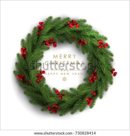 Christmas Wreath Made of Naturalistic Looking Pine Branches Decorated with Red Berries.