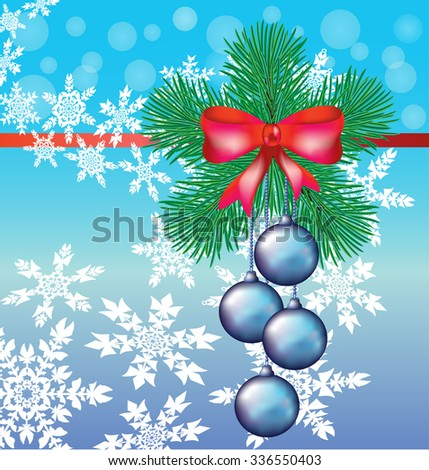 Christmas wreath of fir branches in the shape of a star with a red bow and streamers and a bunch of hanging blue Christmas balls on a blue background with swirl of white snowflakes