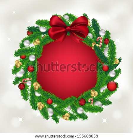 Christmas wreath of fir tree with balls, candy and a red bow - stock vector