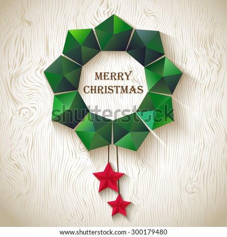 Christmas wreath of geometric shapes - stock vector