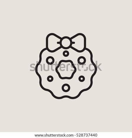 Christmas Wreath Outline Vector Icon