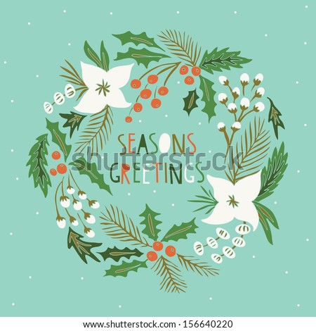 Christmas Wreath Print Design - stock vector