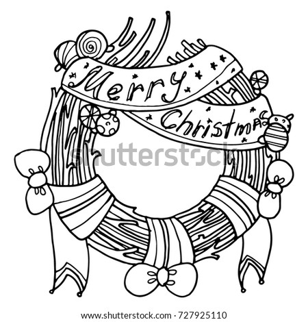 Christmas Wreath Stylized At The Door Black And White Drawing By Hand