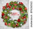 Christmas wreath with baubles and christmas tree. Vector illustration. - stock vector