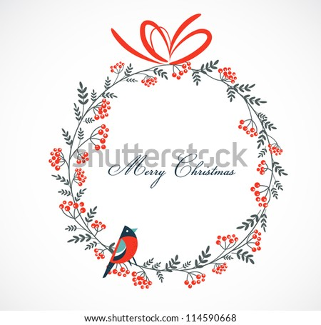 Christmas wreath with birds and ashberry - stock vector