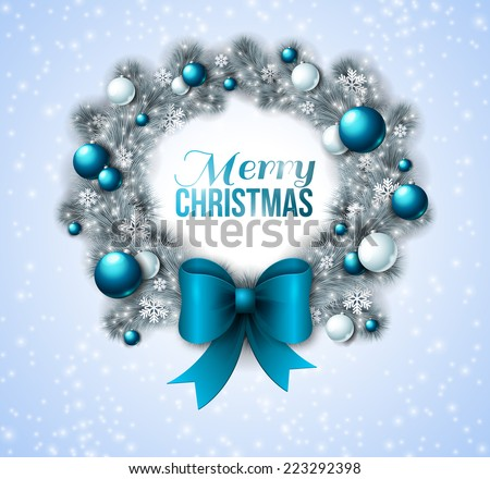 Christmas wreath with blue and white baubles. Vector illustration. Big blue bow. White frosty pine Christmas tree.