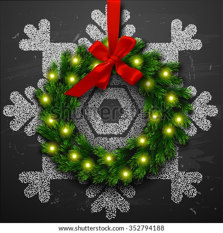 Christmas wreath with decoration. merry christmas card with snowflake - stock vector