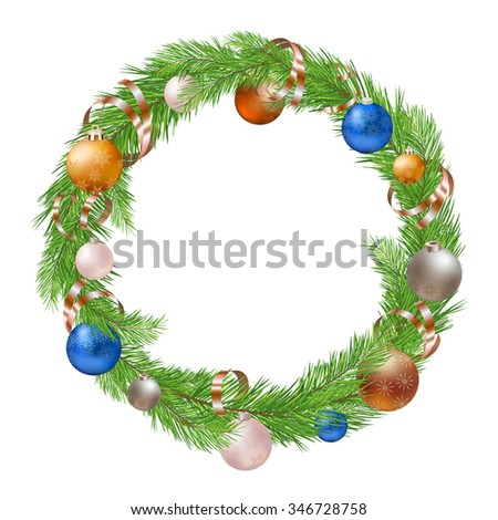 Christmas Wreath with Decorations on White Background - stock vector