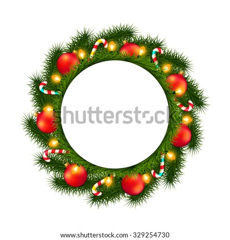 Christmas wreath with empty round frame isolated on white - stock vector