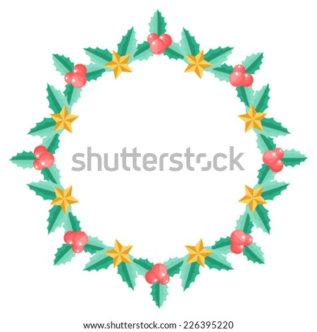 Christmas wreath with holly berry - stock vector