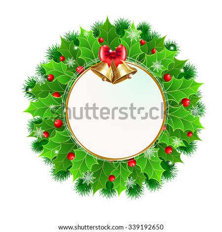 Christmas wreath with holly berry and Christmas decoration. Vector illustration for Christmas posters, icons, Christmas greeting cards, Christmas print and web projects. - stock vector