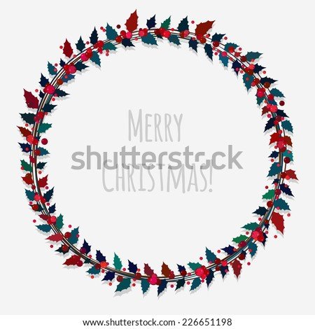 christmas wreath with holly leaves and berries - stock vector