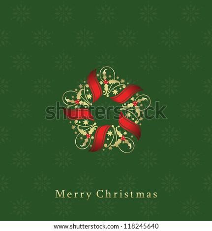 Christmas wreath with mistletoe - stock vector