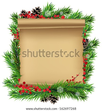 Christmas wreath with old parchment and red berries on a white background - stock vector