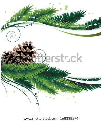Christmas wreath with pine branches and cones. Abstract winter background - stock vector