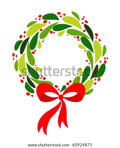 Christmas wreath with red bow - stock vector