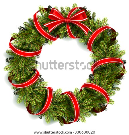 Christmas wreath with red ribbon and bow isolated on white. Vector illustration - stock vector