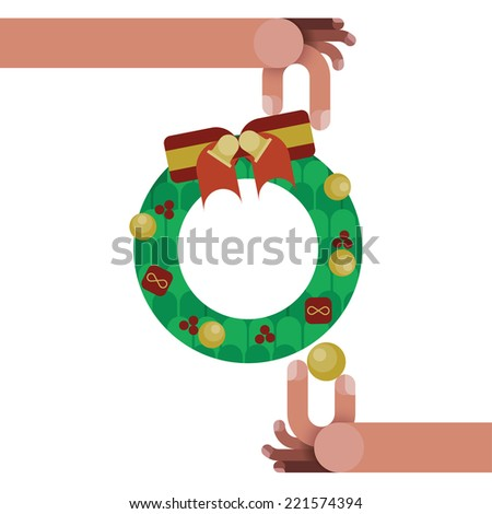 christmas wreath with red ribbon bow decoration isolated by Christmas concept vector - stock vector