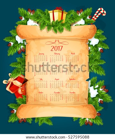 Christmas year calendar on paper scroll with xmas tree branches, gift and present box, candy cane, ribbon bow, snowflake and pinecone. New Year festive calendar design