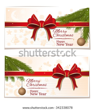 Christmassy cards with red ribbon and bows. Merry Christmas and Happy New Year. Vector illustration.