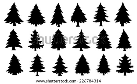 chritmas tree silhouettes on the white background - stock vector