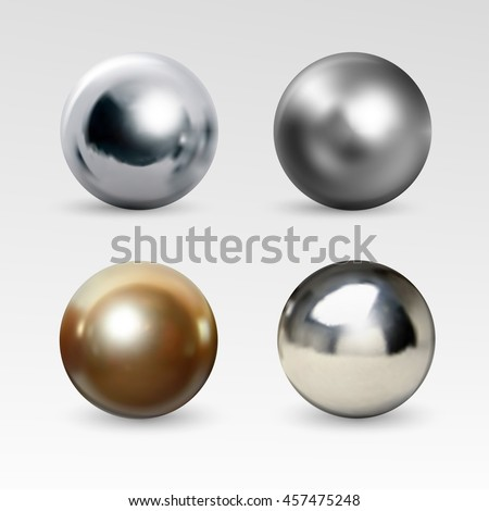 Chrome ball realistic isolated on white background. Spherical 3D orb with transparent glares and highlights for decoration. Jewelry gemstone. Vector Illustration for your design and business. - stock vector
