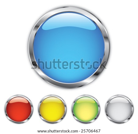 Chrome button - stock vector
