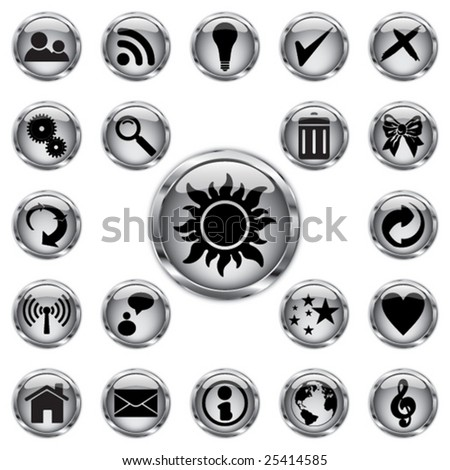Chrome button set - stock vector