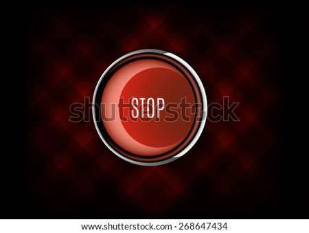 Chrome buttons STOP with plastic elements. Vector icons. - stock vector