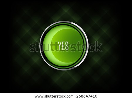 Chrome buttons YES with plastic elements. Vector icons. - stock vector