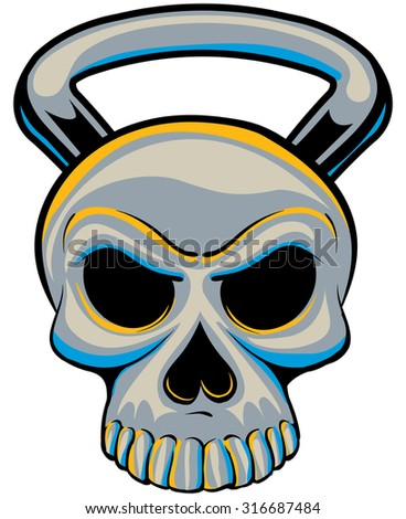 Chrome Exercise kettle bell scary skull with a handle - stock vector