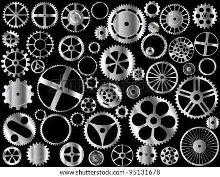 Chrome gears and wheels vector on black background - stock vector