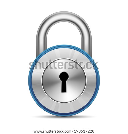 Chrome glossy padlock. Security Concept. Vector Illustration - stock vector
