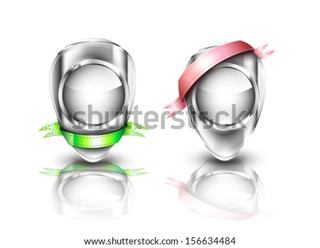 Chrome metallic badges with green and pink ribbons, EPS 10, isolated - stock vector